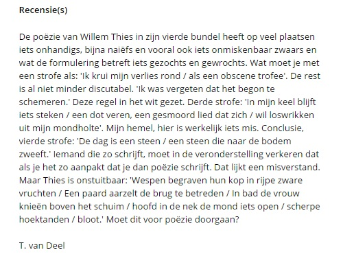 Tom van Deel over Thies