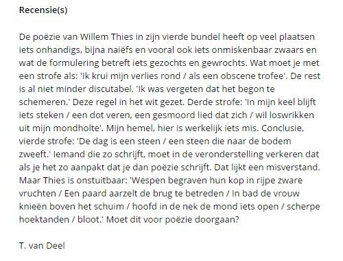 Tom van Deel over Thies